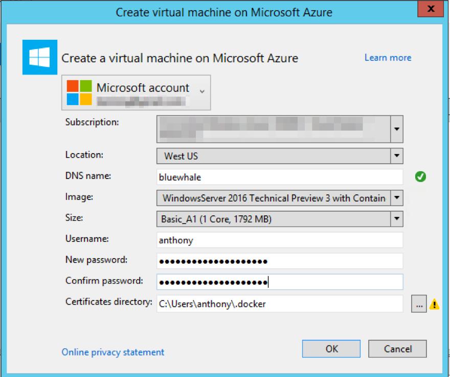 Walkthrough: Provisioning an Azure Windows Docker Host Using Visual