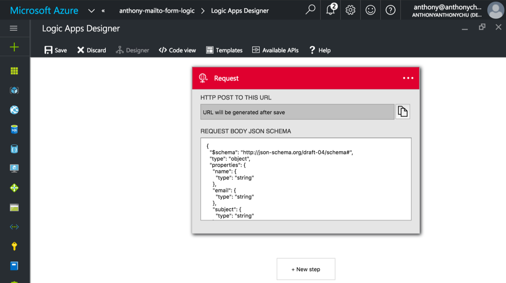 Create an Online Email Form with Azure Logic Apps