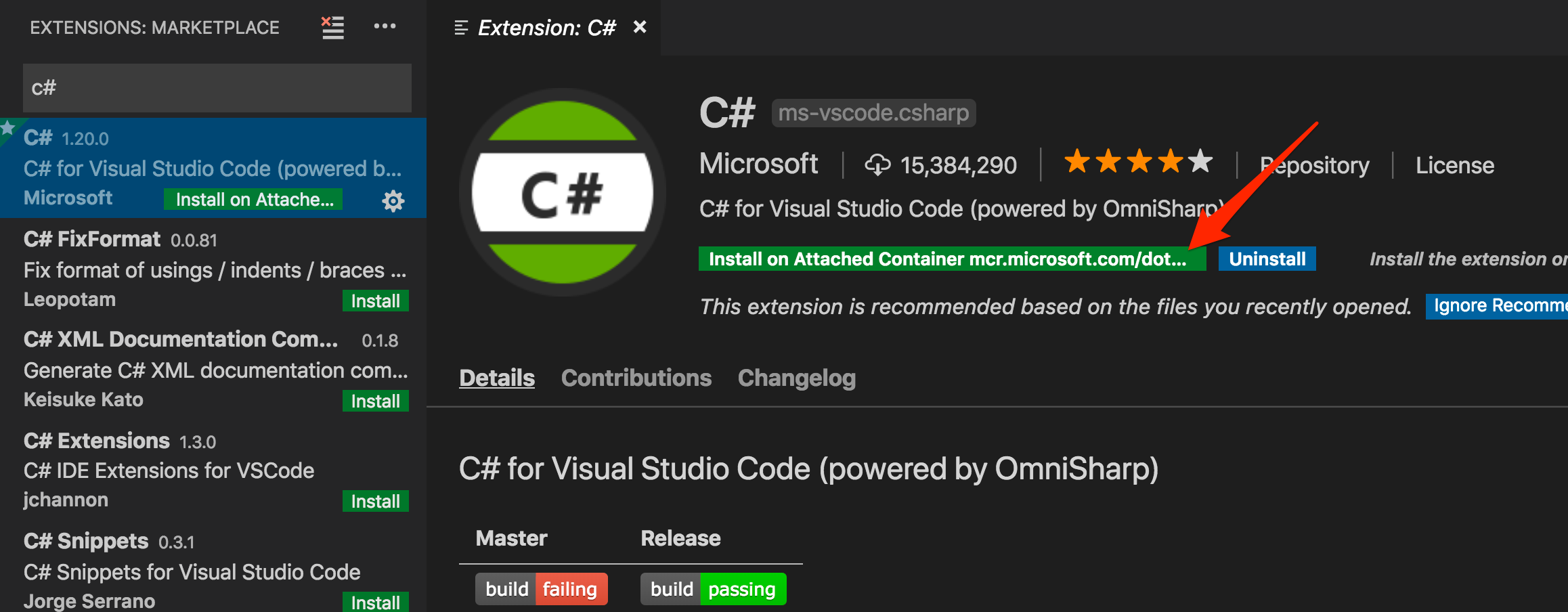 Install C# extension